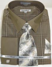 Brown Colorful Mens Dress Shirt