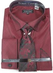 Burgundy Colorful Mens Dress Shirt