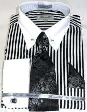 Bold Black/White Stripe Colorful Mens Dress Shirt