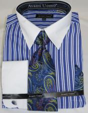 Royal Blue Stripe Colorful Mens Dress Shirt