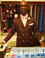 Burgundy and White Bold Gangster Pinstripe Double Breasted Burgundy  Suit