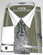 Olive Green Colorful Mens Dress Shirt