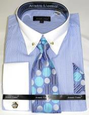 LtBlue Pencil Stripe Colorful Mens Dress Shirt