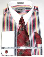 Red Cathedral Stripe Colorful Pinstripe Pattern - White Collared - French Cuffed
