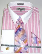 Colorful Pinstripe Pattern - White Collared - French Cuffed Mens Dress
