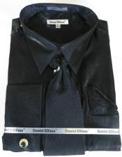 Black Colorful Mens Sateen Dress Shirt