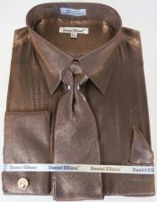 Brown Colorful Mens Sateen Dress Shirt