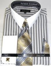 Beige Awning Stripe Colorful Mens Dress