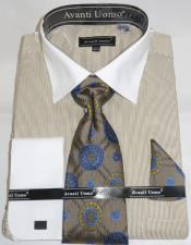 Mens Fashion Dress Shirts and Ties Beige Pencil Stripe Colorful Mens Dress