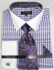 Mens Fashion Dress Shirts and Ties Lavender Colorful Plaid - Checker Pattern