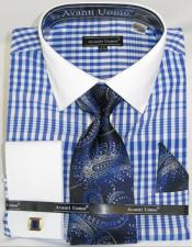 Mens Fashion Dress Shirts and Ties Blue Colorful Plaid - Checker Pattern