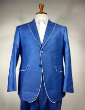 Blue Single Breasted Linen Summer Tuxedo