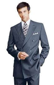 Blue Pinstripe Double Breatsed Suits Pleated Pants Rayon Fabric Side Vented