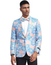 Blue and Pink Tuxedo Jacket Floral Pattern - Blazer - Prom