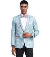 Light Blue Tuxedo Jacket Pattern with Red Trim Shawl Lapel - Blazer