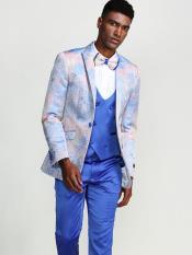 Blue Slim Fit Tuxedo with Fancy Pattern Four Piece Set - Wedding