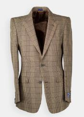 Mens Brown Windowpane houndstooth Blazer - Sport Coat