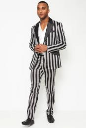 1920s Bold Black Pinstripe - Stripe Tuxedo Suit