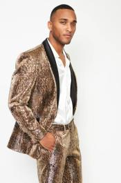 Mens Coffee Animal Print Suit  Jacket and Pant