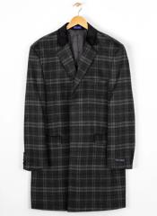 Breasted Wool Blend Plaid Overcoat