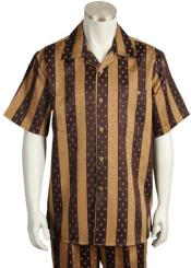 Brown Point Collar Speckled Stripes Short Sleeve Walking Suit