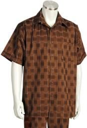 Offset Stitch Grids Short Sleeve 2pc Walking Suit Set - Brown