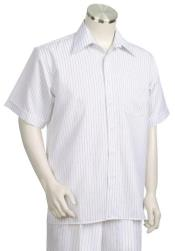 Stripes Short Sleeve 2pc Walking Suit Set - White/Black