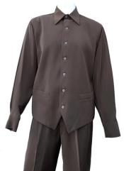 Brown Button Fastening Long Sleeve 2pc Walking Suit