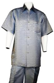 Mens Sky Blue 2pc Shirt and Pants set