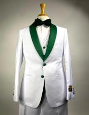 Tuxedo Suits White and Olive Green Hunter Emerald