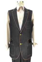 Mens Sleeveless Suit Denim Suit Vest and Pants Set Combination - Mens