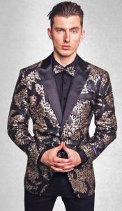 - Sequin Signature Blazer (Black/Gold)
