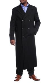 Black Diamond Solid Black Wool Double Breasted Gabardine Trench Coat