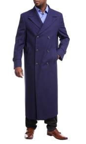 Black Diamond Navy Blue Wool Gabardine Double Breasted Trench Coat