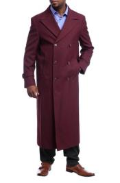 Black Diamond Burgundy Red Wool Gabardine Double Breasted Trench Coat