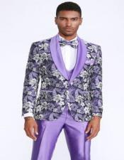 Tuxedo with Floral Pattern Four Piece Set - Wedding - Prom