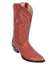 Los Altos Boots Caiman Belly Cognac Cowboy Boots J-Toe