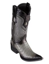 Los Altos Boots Caiman Belly Faded Grey Pointed Toe Cowboy Boots