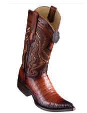 Los Altos Boots Caiman Belly Faded Cognac Pointed Toe Cowboy Boots