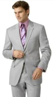 SKU#R&H1 Silver Gray (Very Very Light Gray(Ash)) 2 Button Double Vent Mens Suit