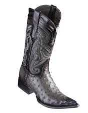 Altos Ostrich Faded Grey Pointed Toe Cowboy Boots - Botas De Avestruz