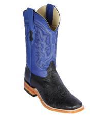 Altos Smooth Ostrich Square Toe Cowboy Boots Black/Blue - Botas De