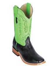 Altos Smooth Ostrich Square Toe Cowboy Boots Black/Green - Botas De