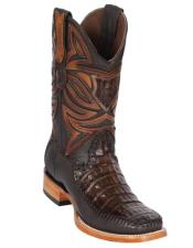 Los Altos Boots Caiman Belly and Deer Wide Square Toe Faded Brown
