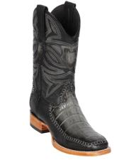 Altos Boots Caiman Belly and Deer Wide Square Toe Faded Grey