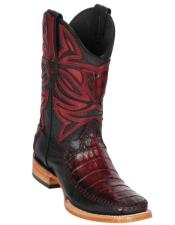 Los Altos Boots Caiman Belly and Deer Wide Square Toe Faded Burgundy