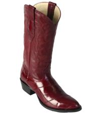 Altos Mens Eel Burgundy R-Toe Cowboy Boots