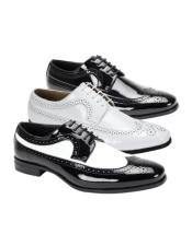 Patent Leather Shoe Wingtip Lace UP Oxford Shoe 3 Colors White Shoes