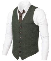 Slim Fit Herringbone Tweed Suit Army Green 1920s Vest