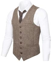 Slim Fit Herringbone Tweed Suit Beige 1920s Vest